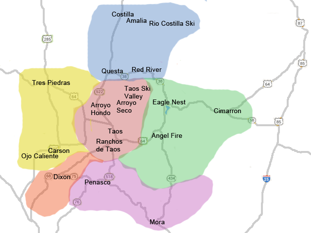 Taos Real Estate Listings Areas Map